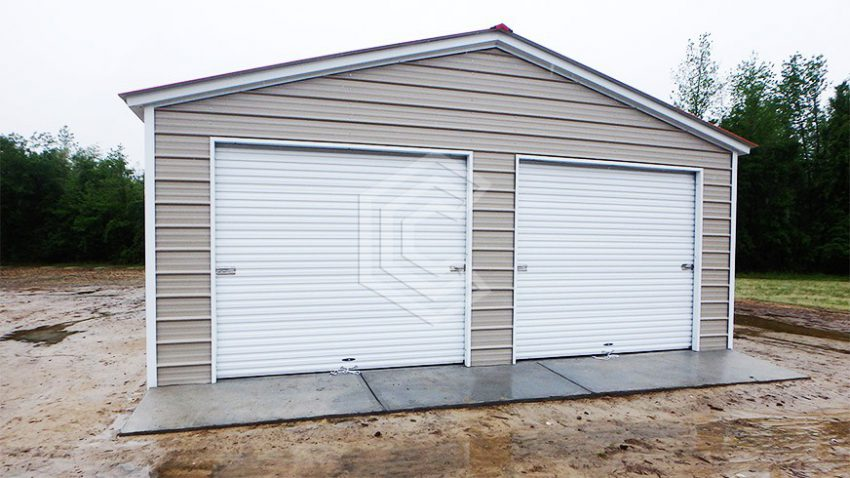 24x26x9 vertical roof 2 car metal garage