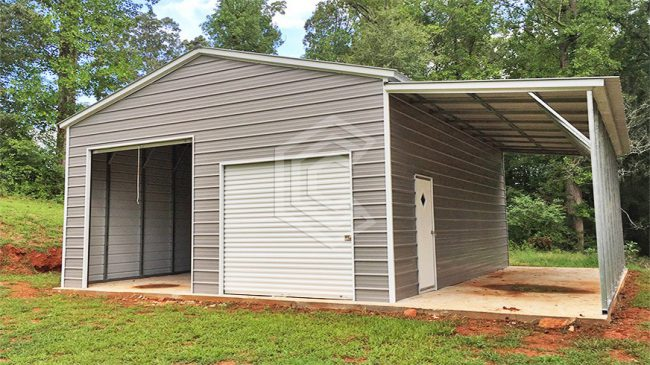 34x25x11-enclsoed-garage-with-lean-to