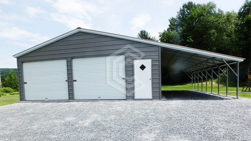 38x26x10 triple wide metal garage with lean to