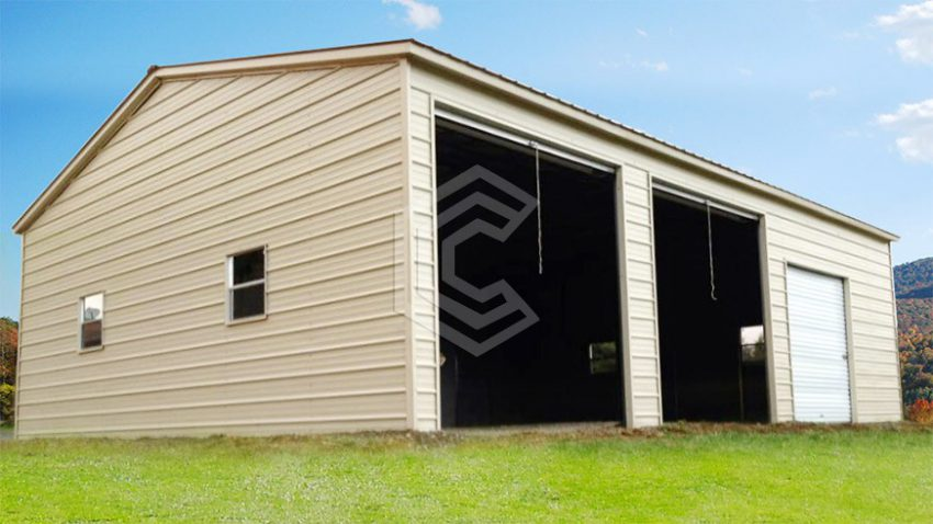 20x31x10 vertical roof side entry metal garage