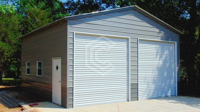 24x26x12 Vertical Roof Two Car Garage