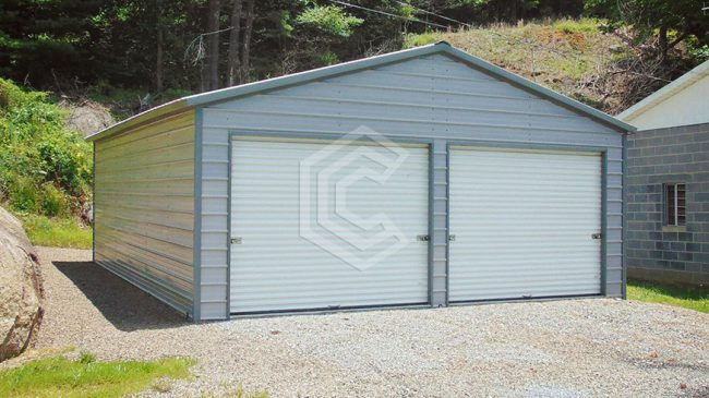 24x31x9 Enclosed Metal Garage with Vertical Roof