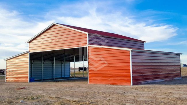 48x31x12 Vertical Roof Red Metal Barn