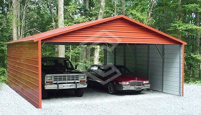 20x31x8 Side Enclosed Carport