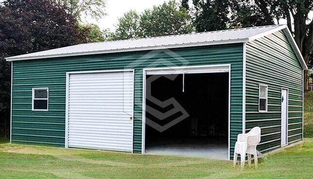 24x30x10 Side Entry Metal Garage