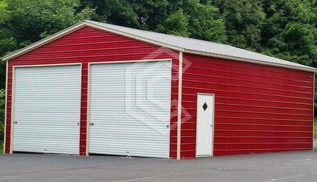 26x41x12  Two Car Metal Garage