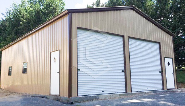 28x40x12 Enclosed Metal Garage