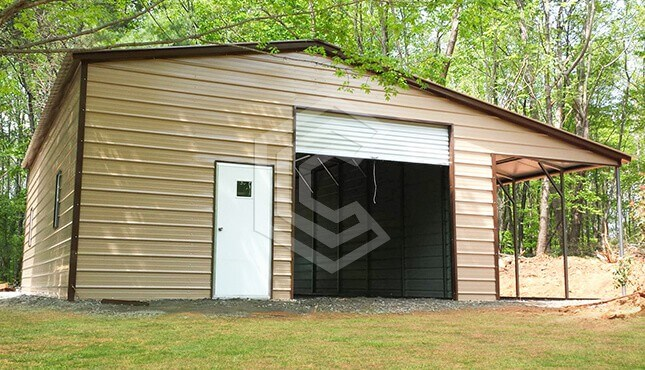 34x36x12 Vertical Roof Metal Garage with Lean to