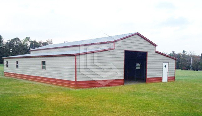 44x51x12 Two Tone Raised Center Aisle Barn