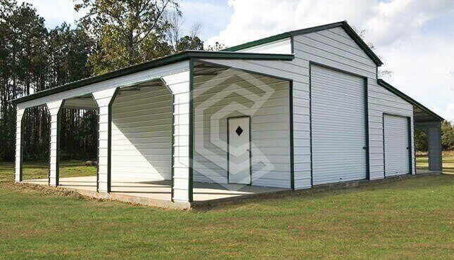 54x30x14 Raised Center Aisle Metal Barn